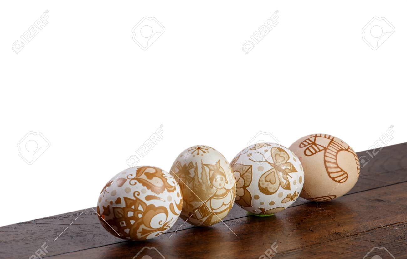 easter egg on the wood texture white background place to inserted