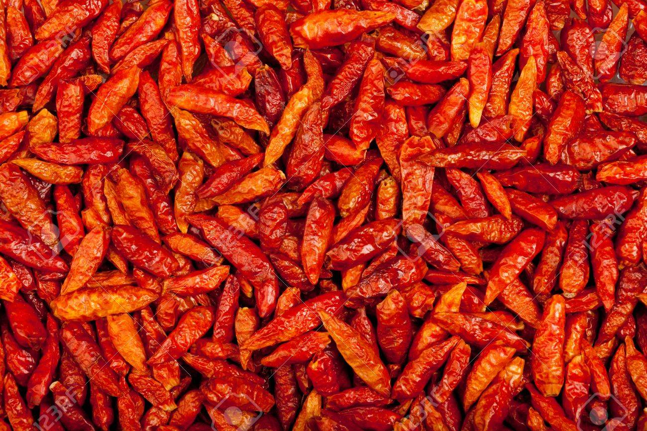 some red eye chili peppers forming a background pattern Stock Photo - 9312738