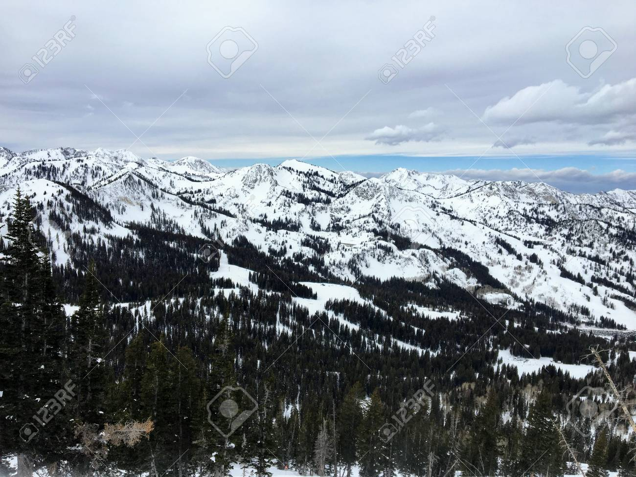 winter majestic views around wasatch front rocky mountains, brighton