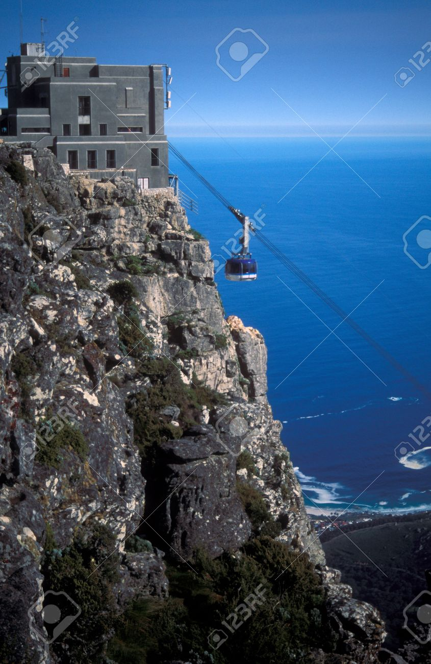 Cable Car Approaching The Station On Top Of Table Mountain Cape - Table top mountain south africa