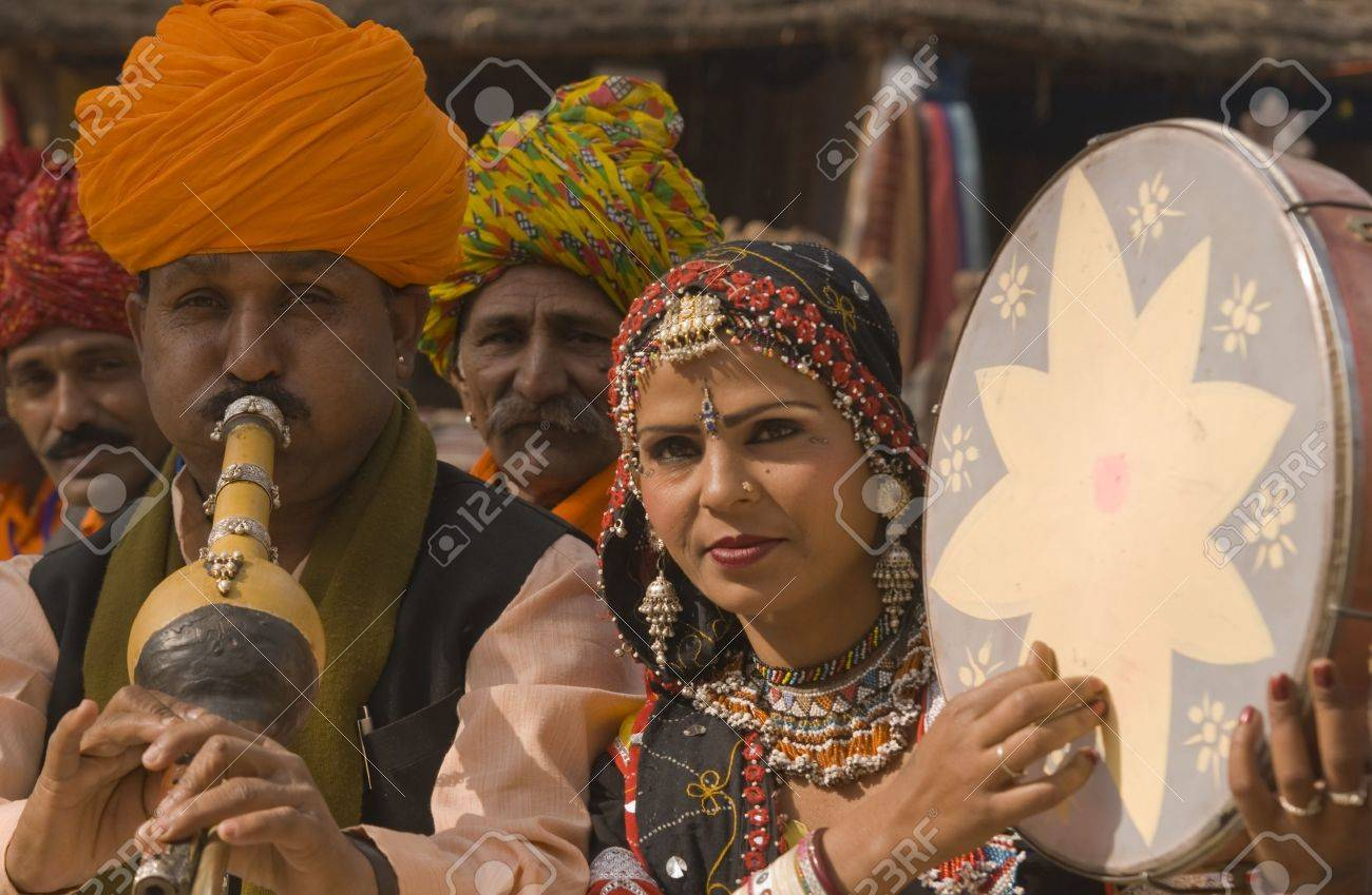 Haryana, India - February 7, 2008: Indian folk group playing musical instruments Stock Photo - 8461489