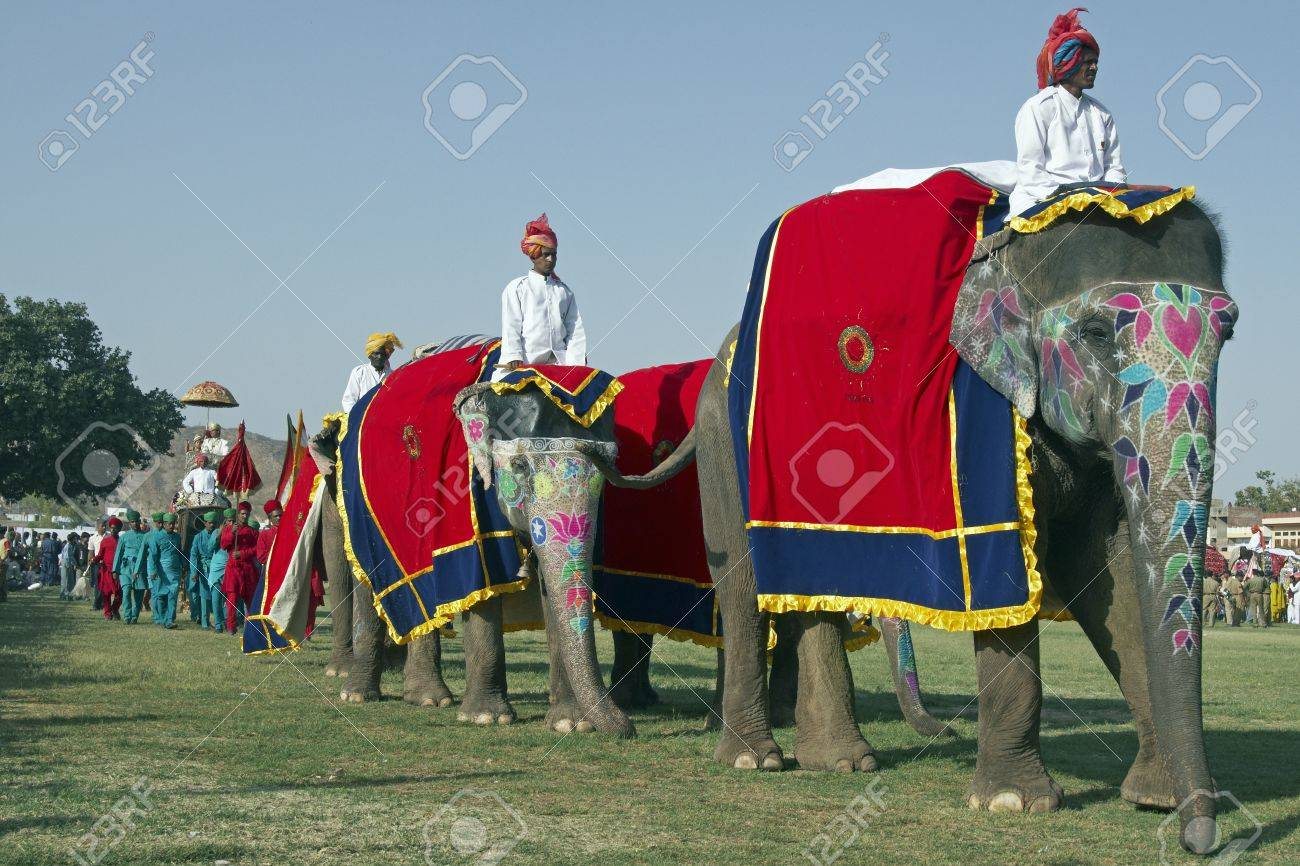 Jaipur, India - March 21, 2008: Elephants on parade at the annual elephant festival in Jaipur, India Stock Photo - 8491463