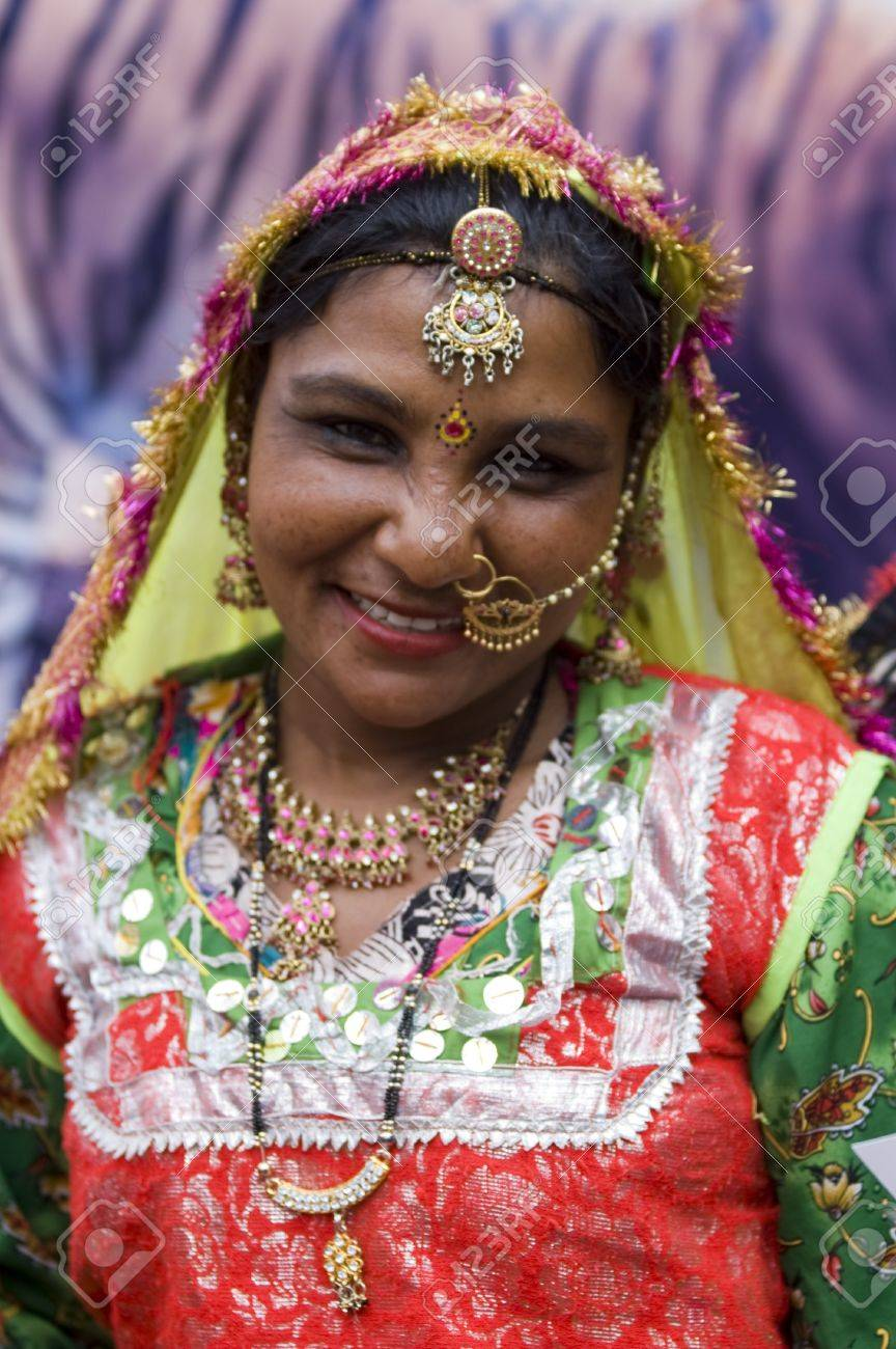 Delhi, India - February 15, 2007: Portrait of Indian dancer dressed in traditional outfits and jewelery from Rajasthan Stock Photo - 8607895
