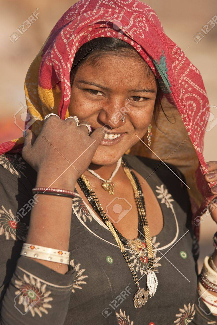 Nagaur, Rajasthan, India - February 16, 2008: Indian woman of the Bishnoi Tribe at the Nagaur Cattle Fair in Rajasthan, India Stock Photo - 8706891