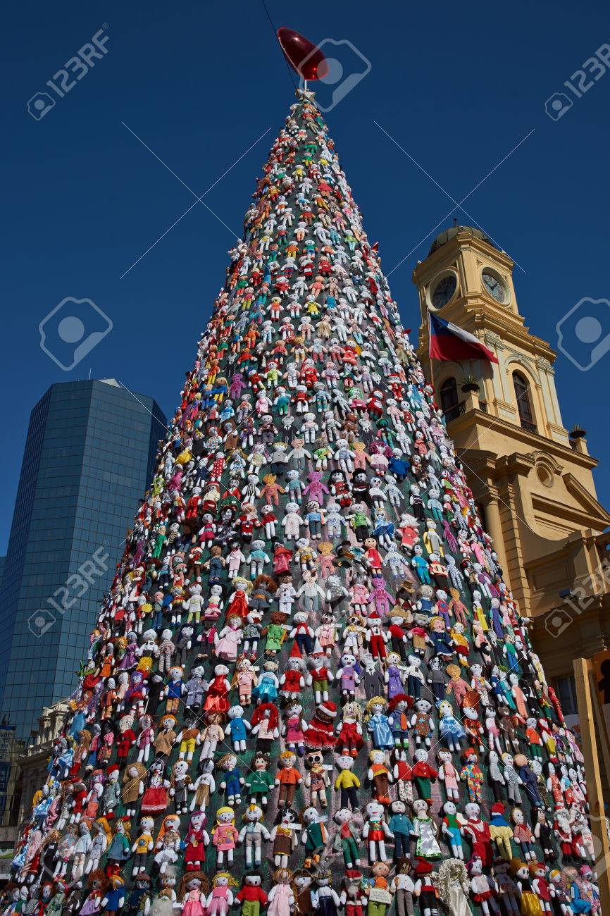 Santiago, Chile - December 19, 2014: Christmas Tree Decorated ...