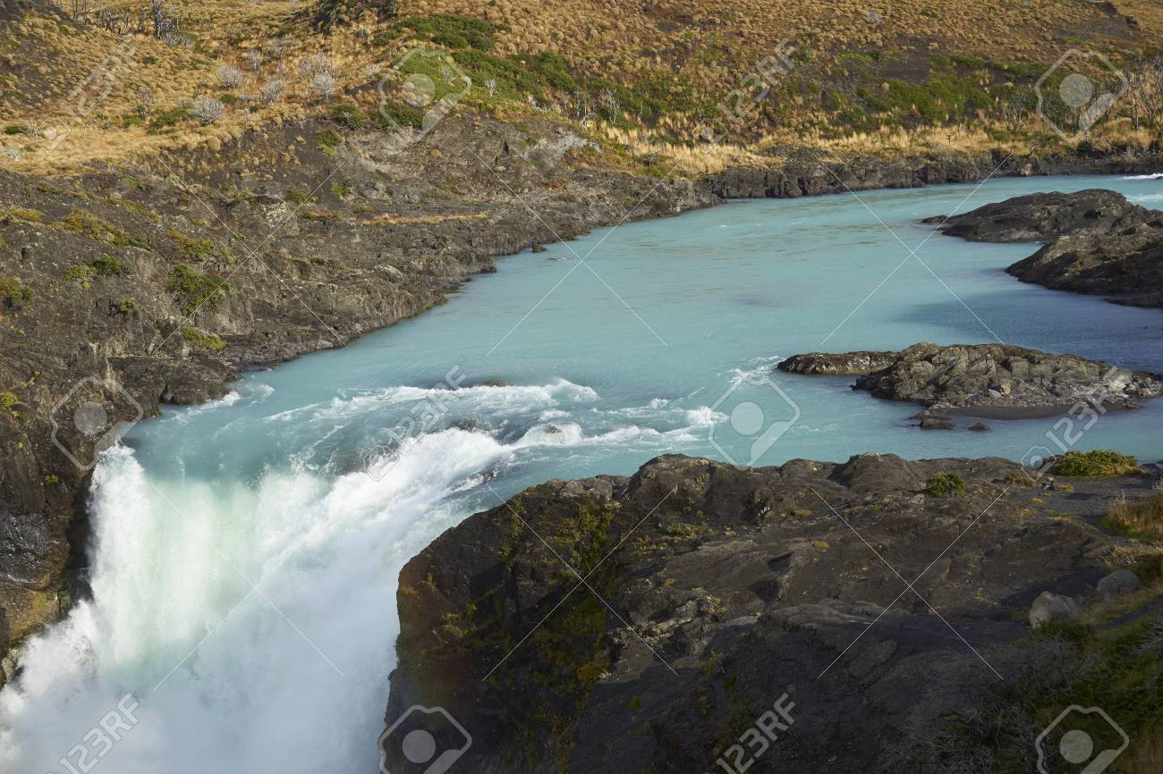 Salto Grande Waterfall In Torres Del Paine National Park Paonia Chile