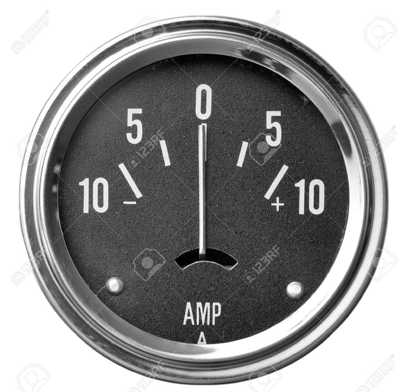 Electrical Amperage (AMP) Gauge Isolated On White Stock Photo ...