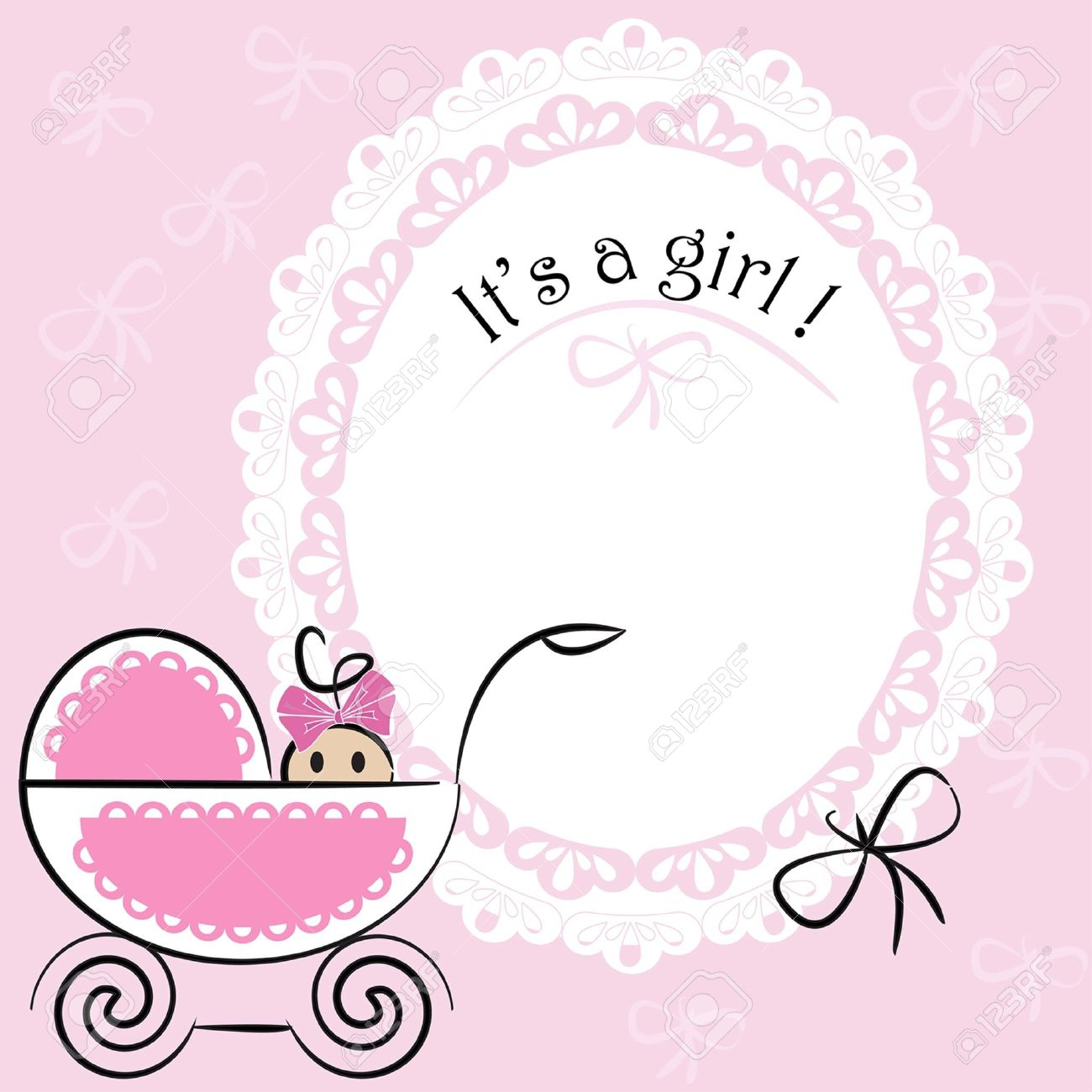 Baby Card - Its A Girl Theme Royalty Free Cliparts, Vectors, And ...