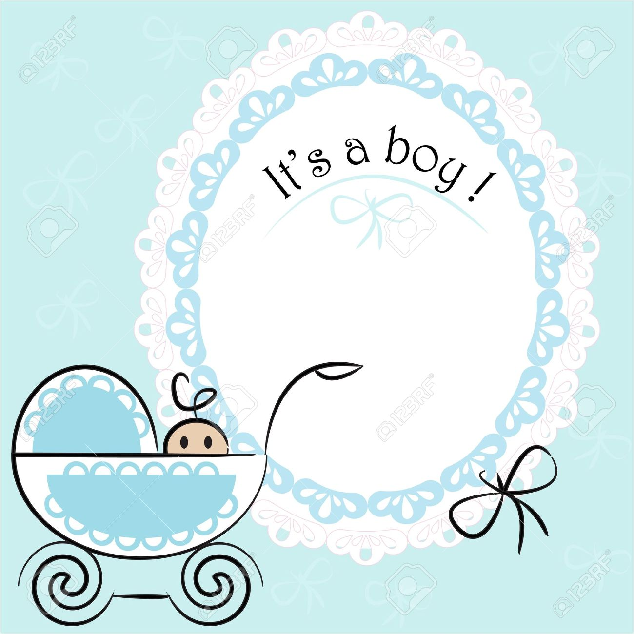 baby card its a boy theme with a baby boy in pram royalty free