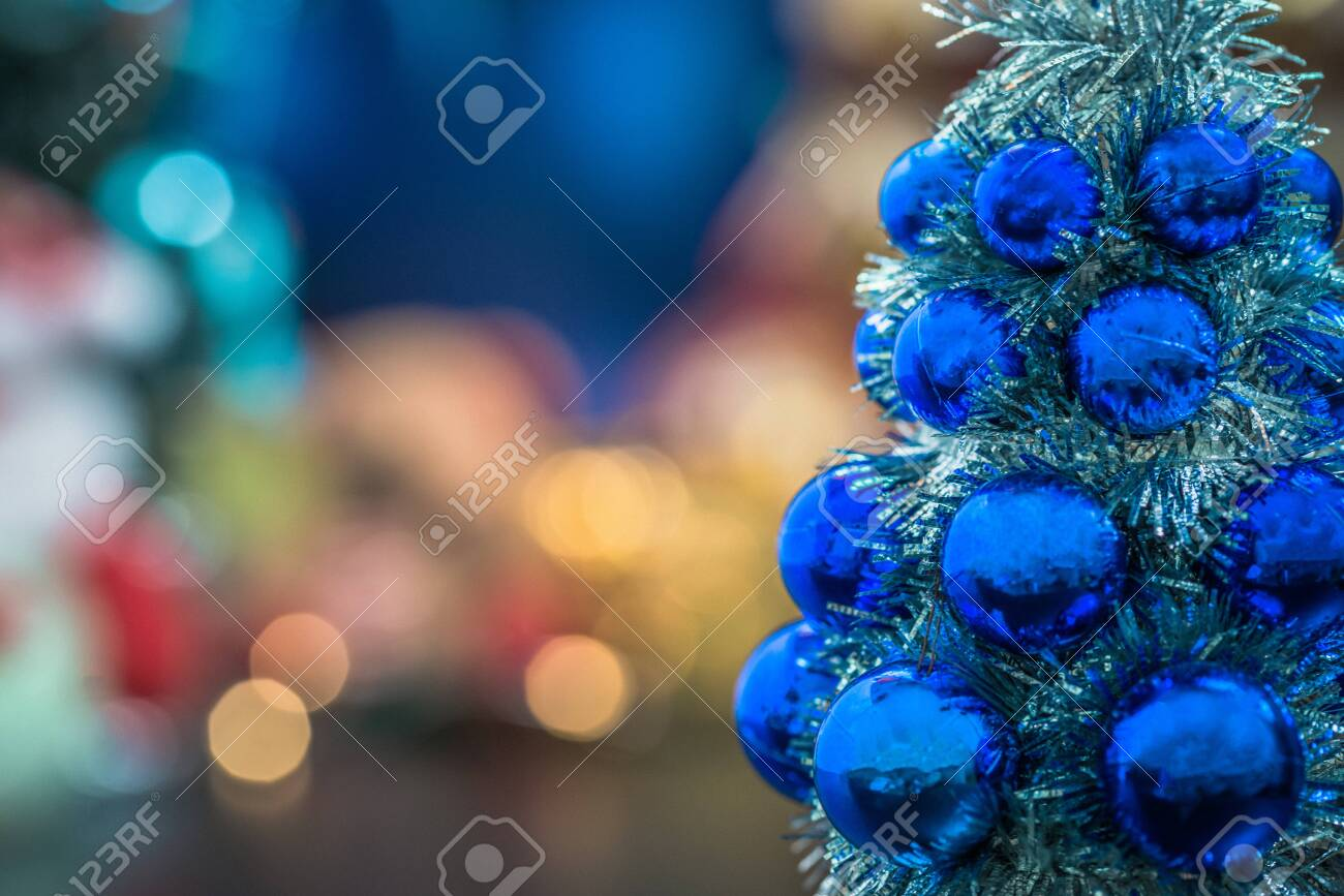 Close Up Of Blue Christmas Tree And Christmas Holiday Season Stock Photo Picture And Royalty Free Image Image 133059130