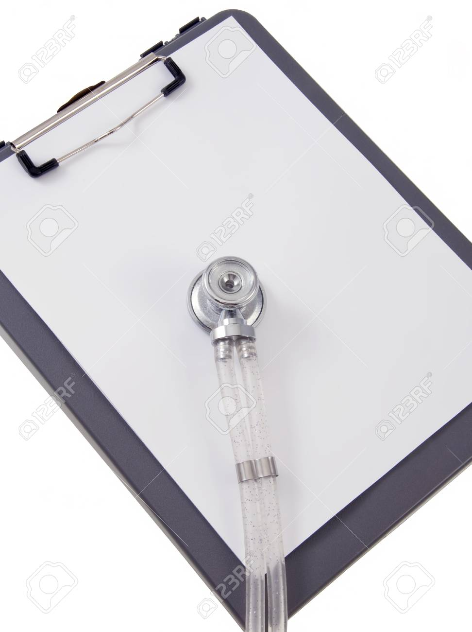 Blank Clip Board Paper and Stethoscope Stock Photo - 11464157