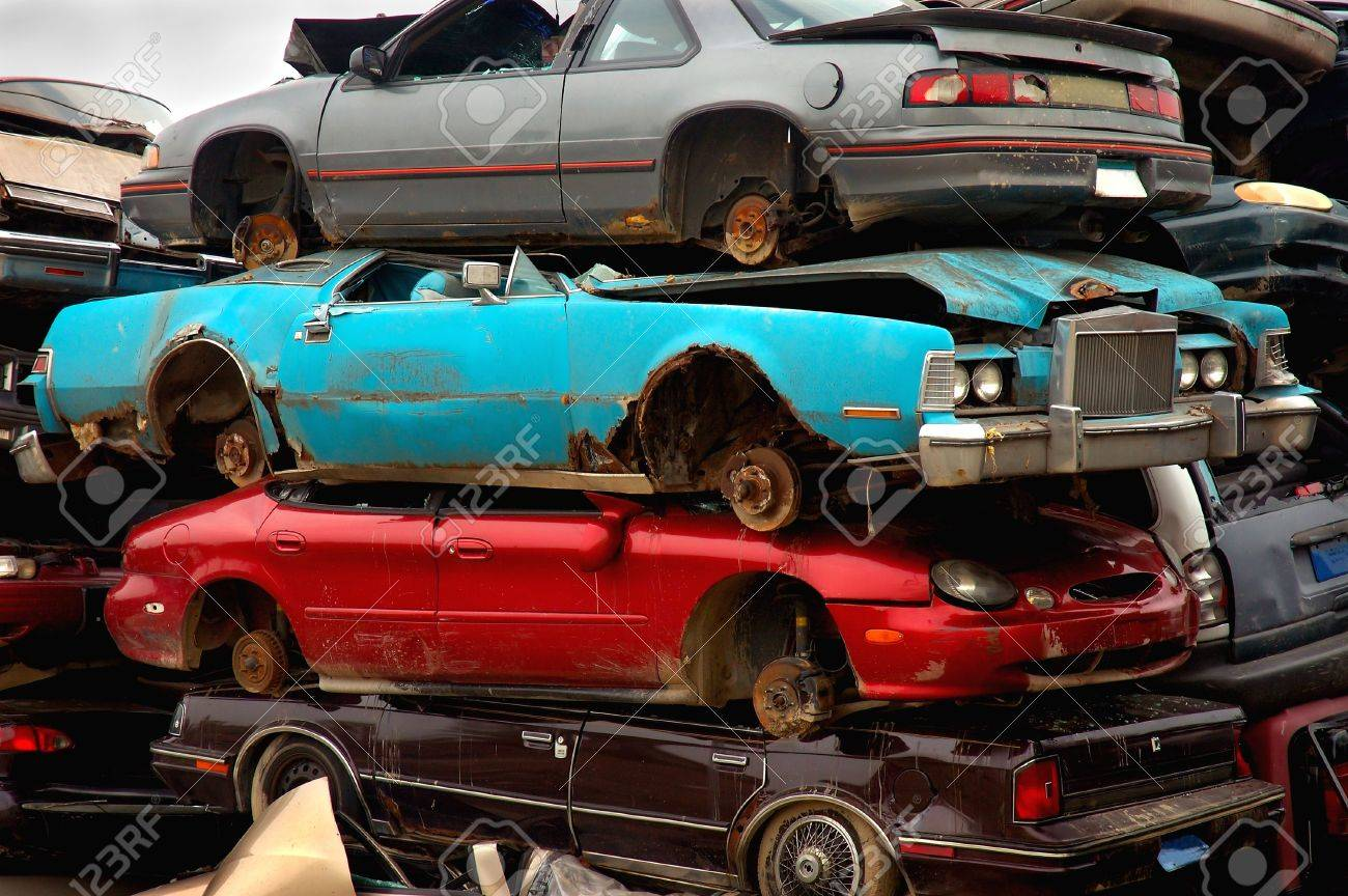 Stacked Scrap Cars To Be Recycled Stock Photo, Picture And Royalty ...