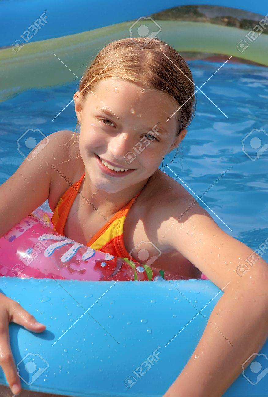 in backyard pool in summer stock photo picture and royalty