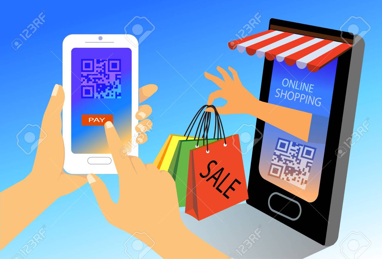Online shopping concept. woman hands holding smartphone with scan QR code for payment, flat design illustration - 150868874