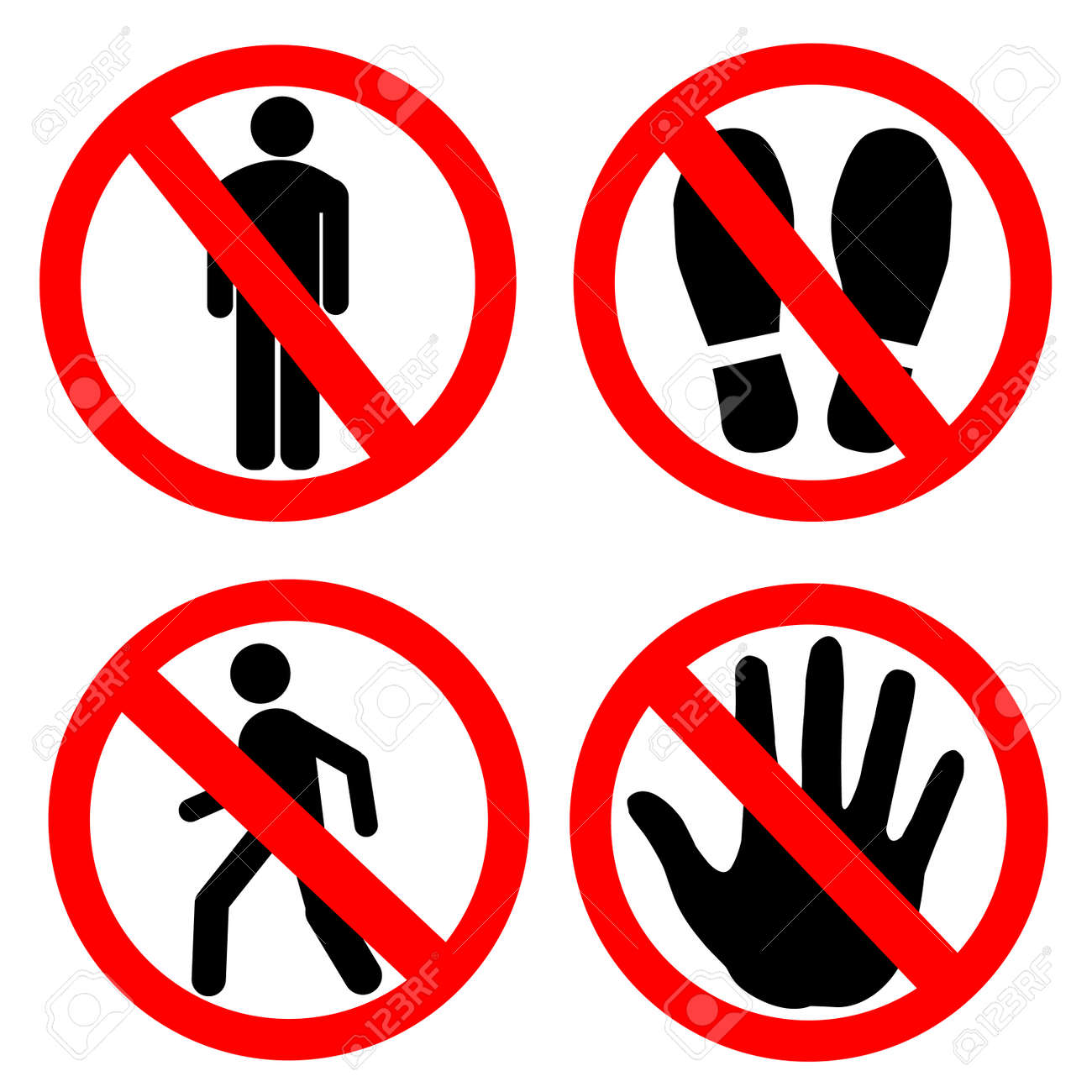 No entry sign set . No man , no shoes , no man walk and hand stop. - 154346154
