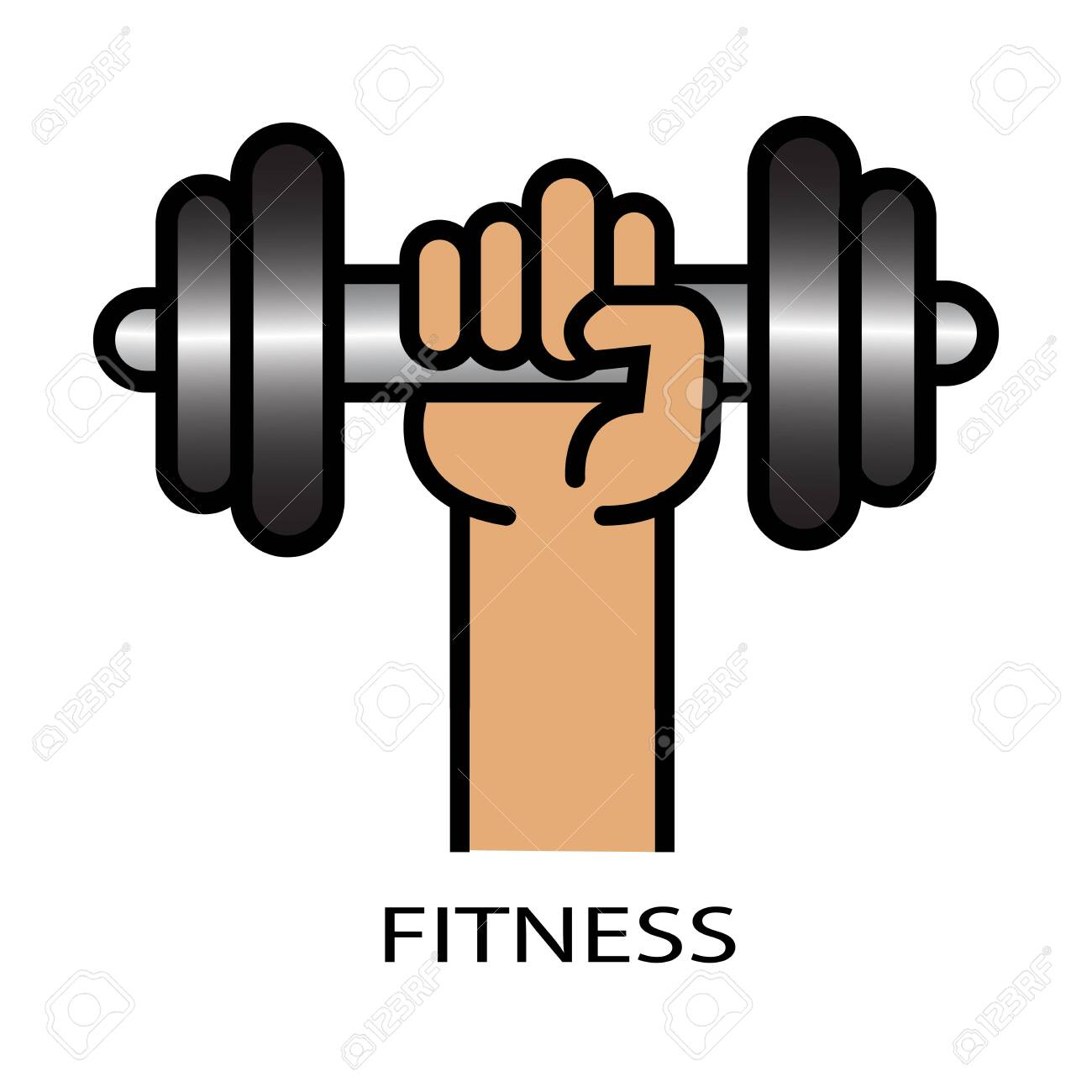 Vector illustration of athletic sportsman arm holding dumbbell with fitness lettering. Fitness workout. - 154940089