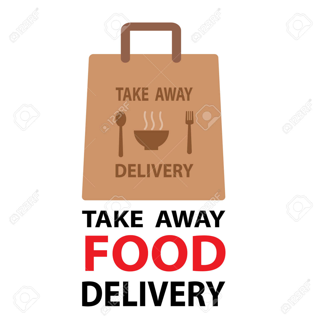 Ready food delivery line icon. Vector illustration of takeaway lunch service. Daily meal in papr bag with fork and spoon pictorgam. healthy concept - 162705007
