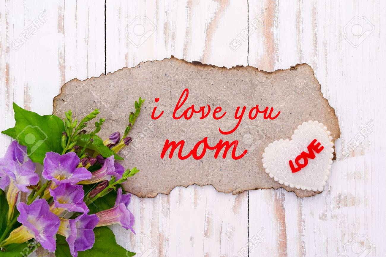 Background For Greetings Mothers Day I Love My Mom Stock Photo