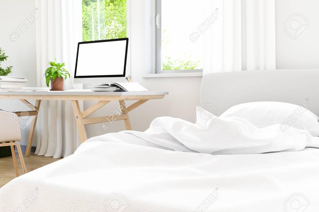 Le moderne de la chambre à coucher loft ancien design en béton avec le  modèle de bureau de travail, le design de maquillage, l\'image de rendu 3D