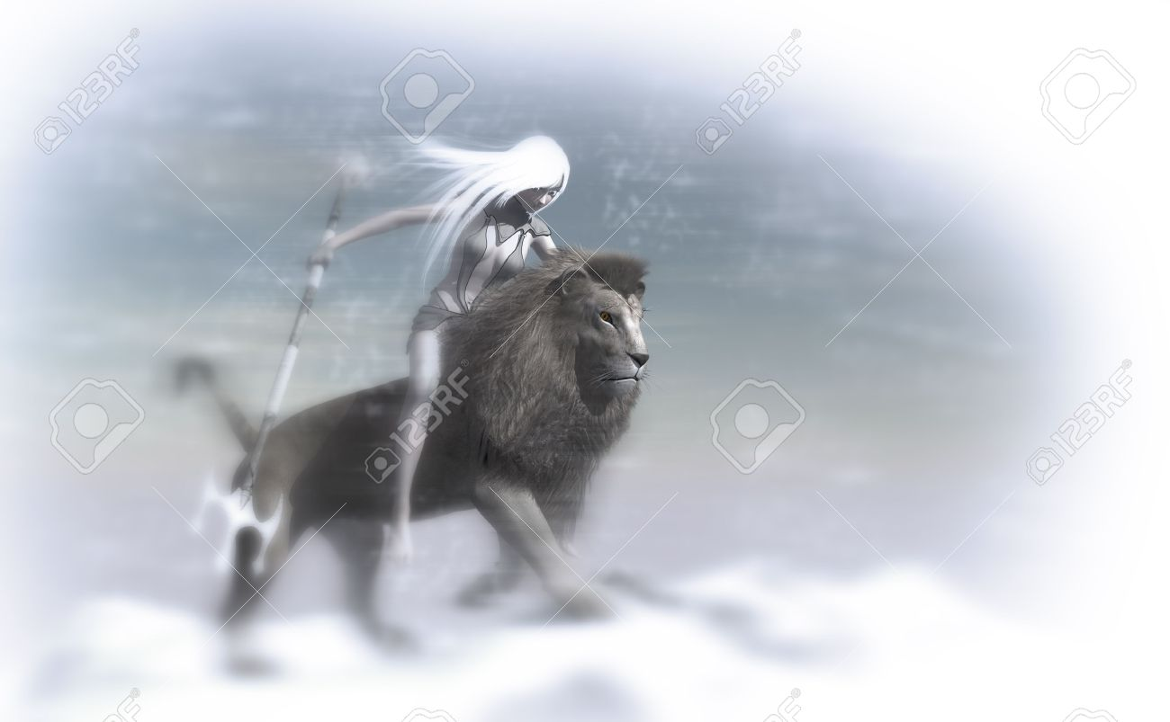 Ice Mage And Snow Lion Stock Photo Picture And Royalty Free Image