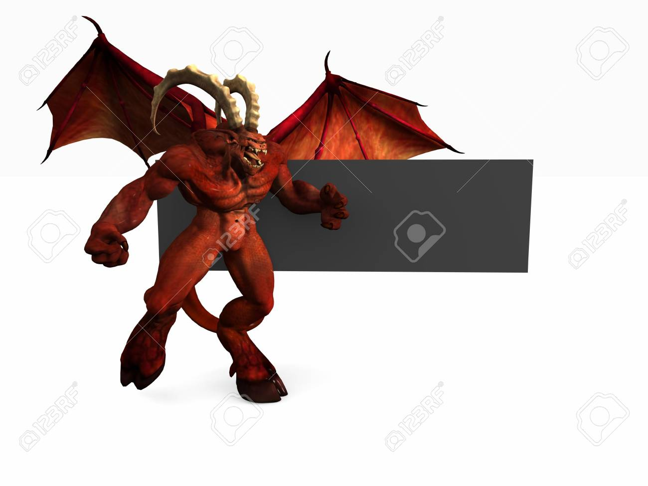 demon and banner Stock Photo - 4535995