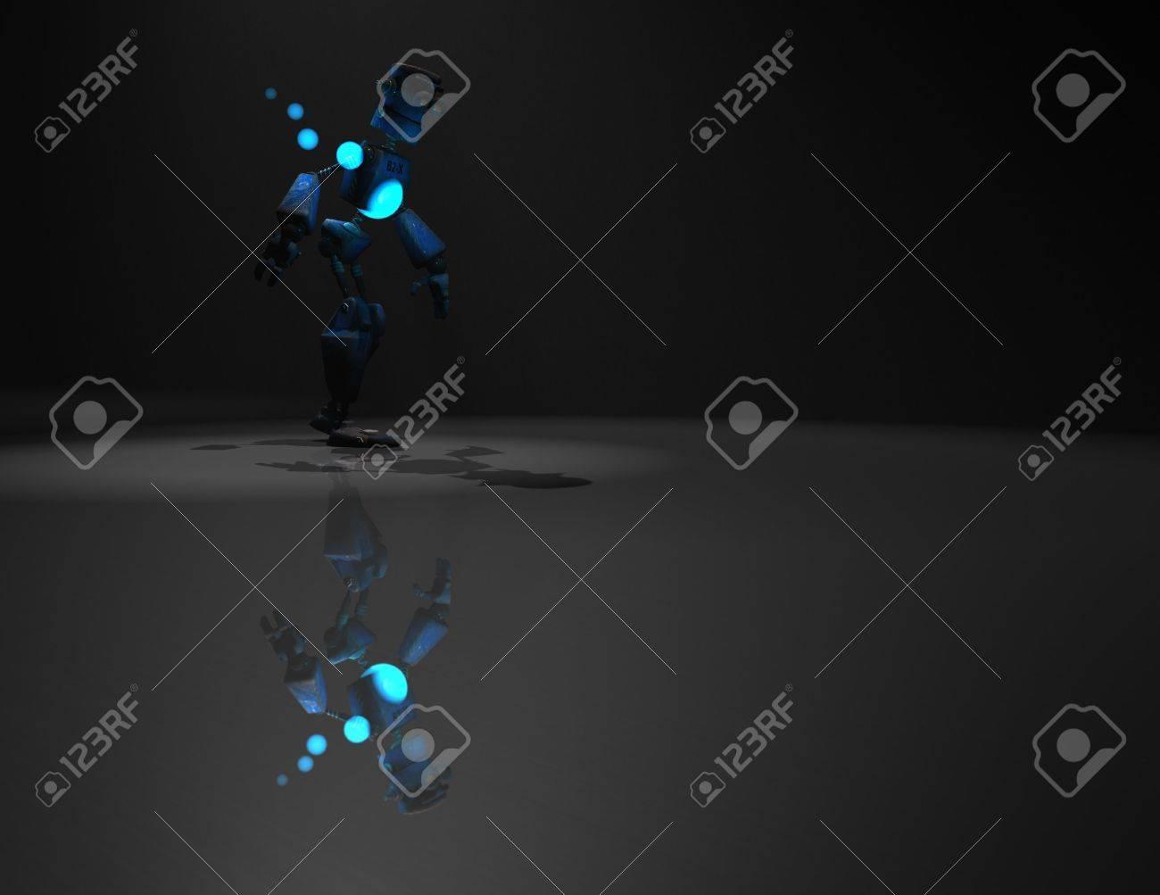 3d render of robot in the dark Stock Photo - 5520542