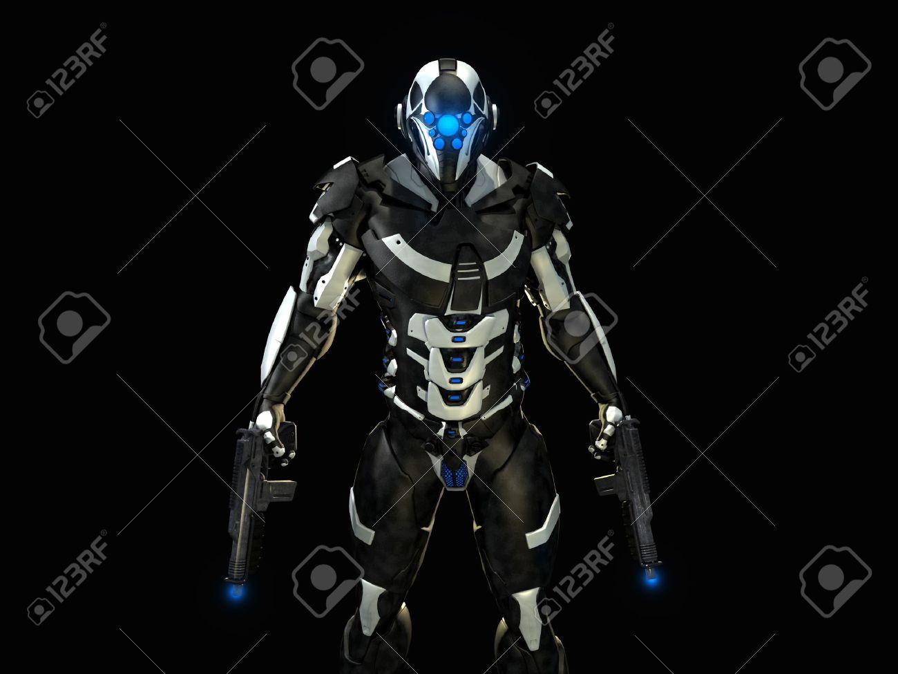 les personnages 14334877-soldat-futuriste-Banque-d'images