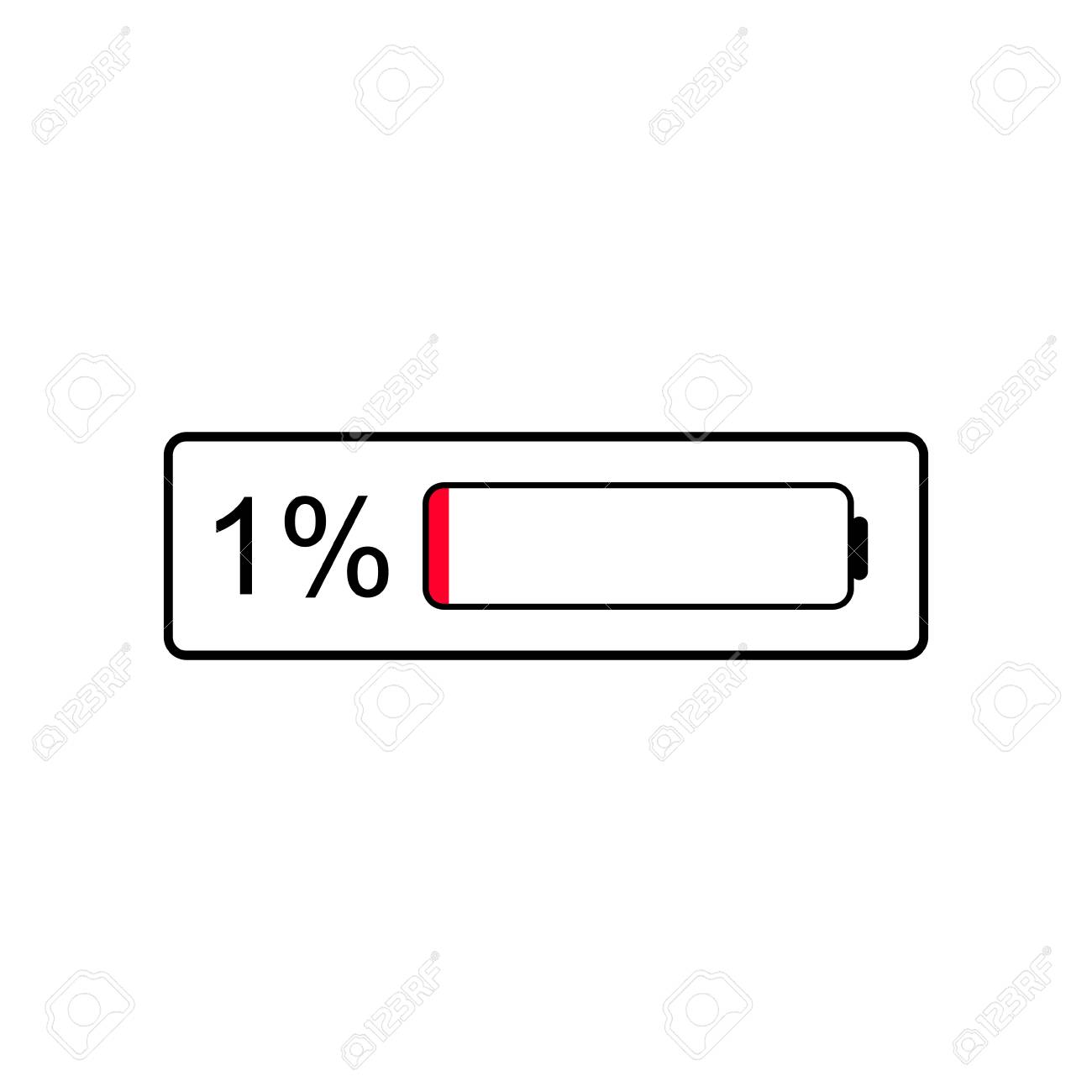 Battery Level Indicator Icon 1 Percent Of Battery In Need Royalty Free Cliparts Vectors And Stock Illustration Image 117688524