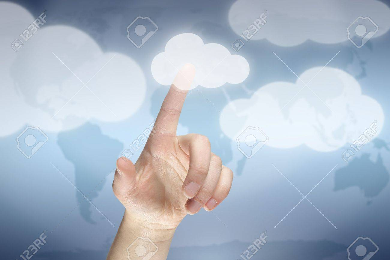 Cloud computing concept, finger touching the cloud - 12181603