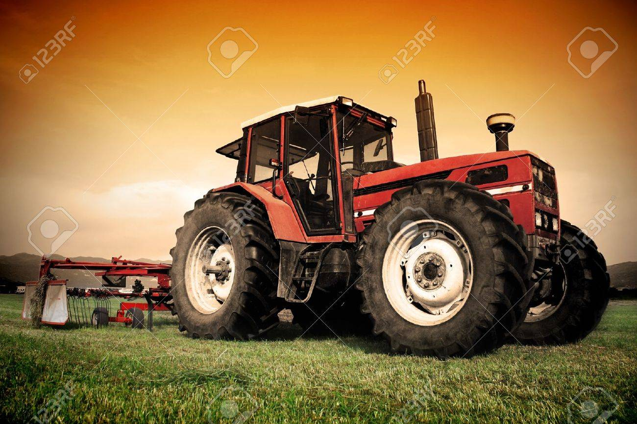 Old tractor on the grass field Stock Photo - 12639668