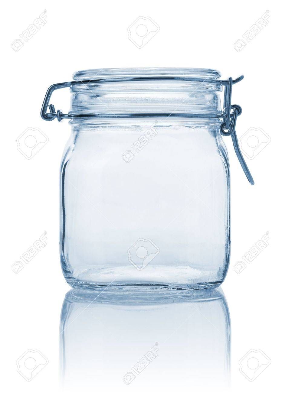 Closed empty glass jar, blue tonned and isolated on white - 13507941