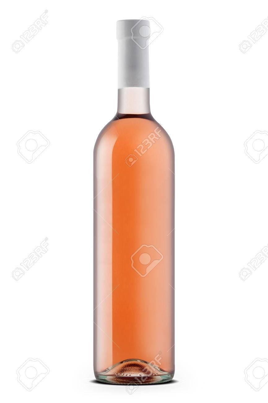 Rose wine bottle isolated on white - 30449798