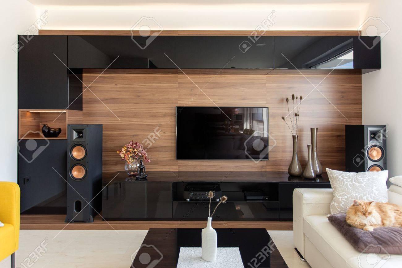 Elegant living room with black and oak cabinets - 66133402