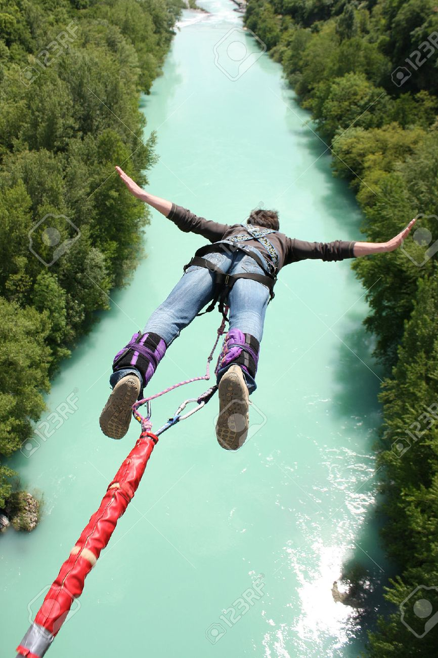9e09ff4206a4 Bungee Jumping In Beautiful Nature Stock Photo