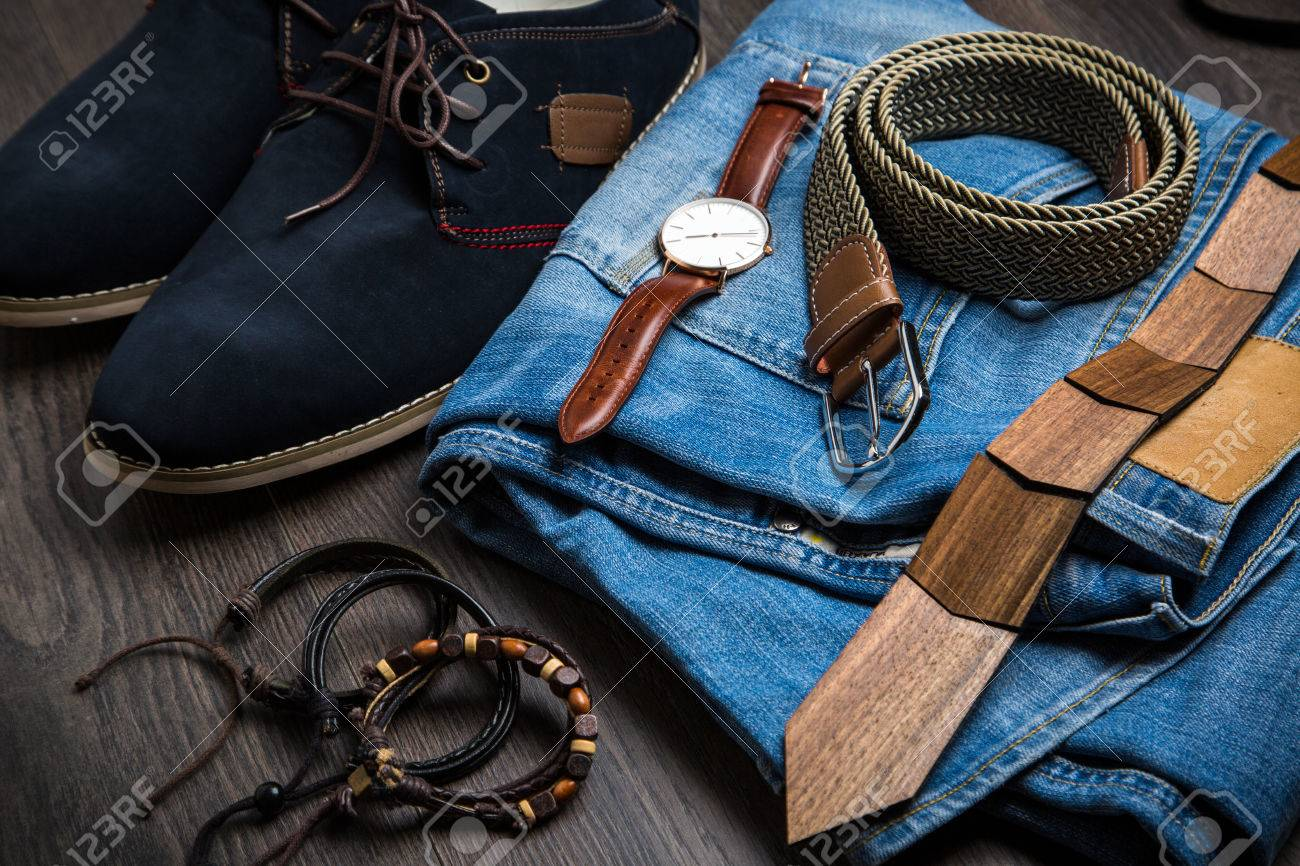 Hipster male modern accesoriess on wooden background - 69030772