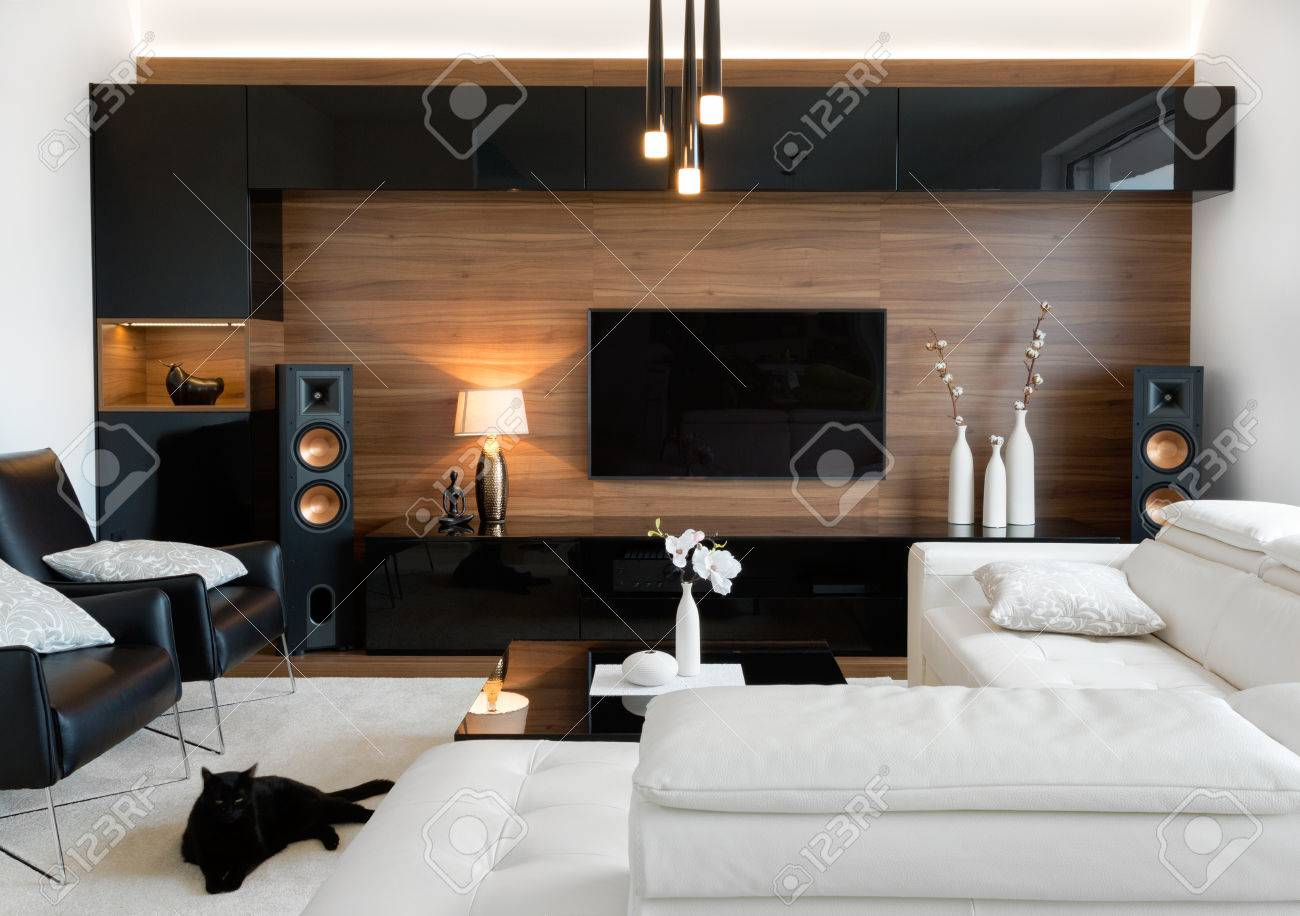 Modern living room interior of real home - 73048207