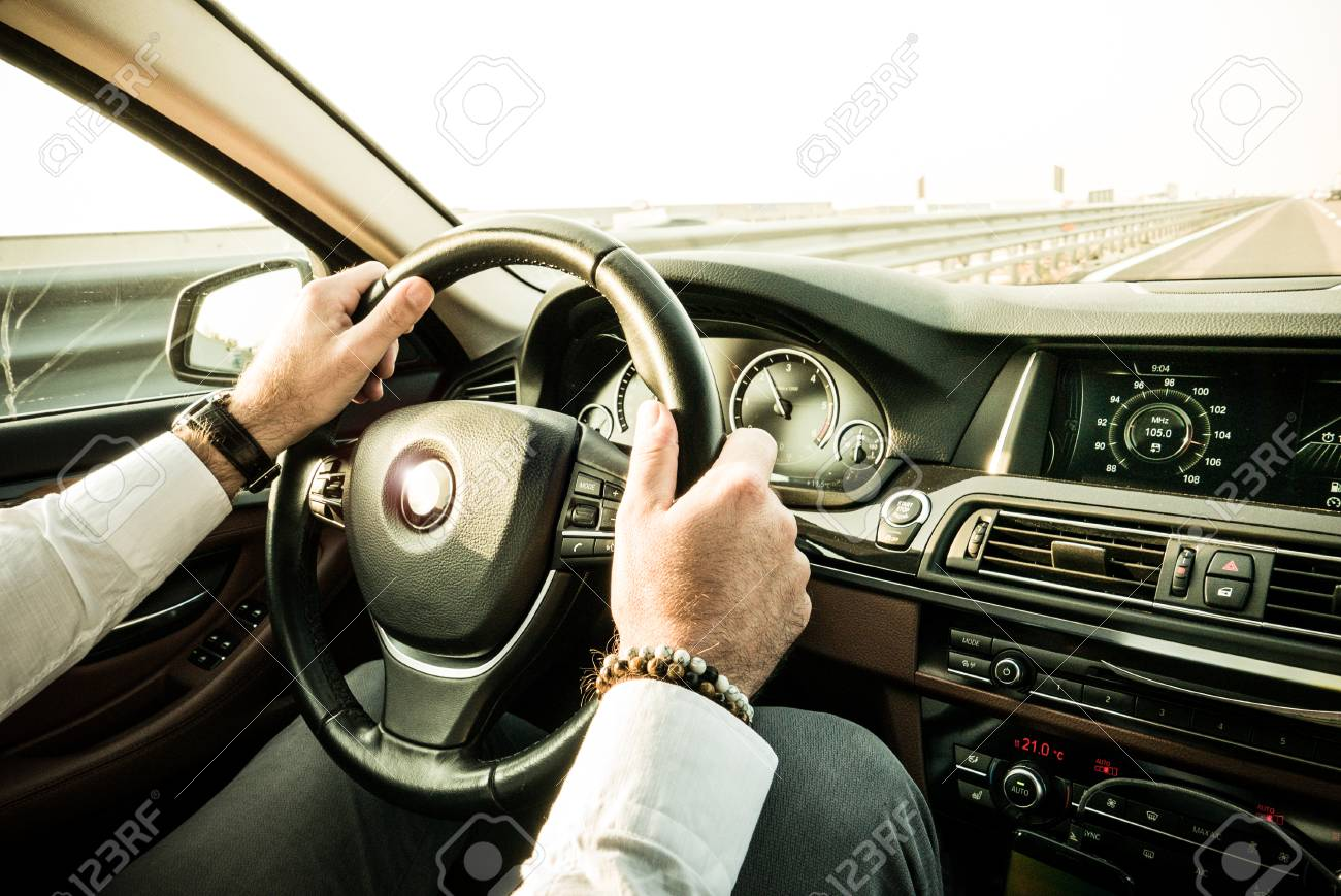 Bussinessman Driving Luxury Car Dashboard View Stock Photo Picture