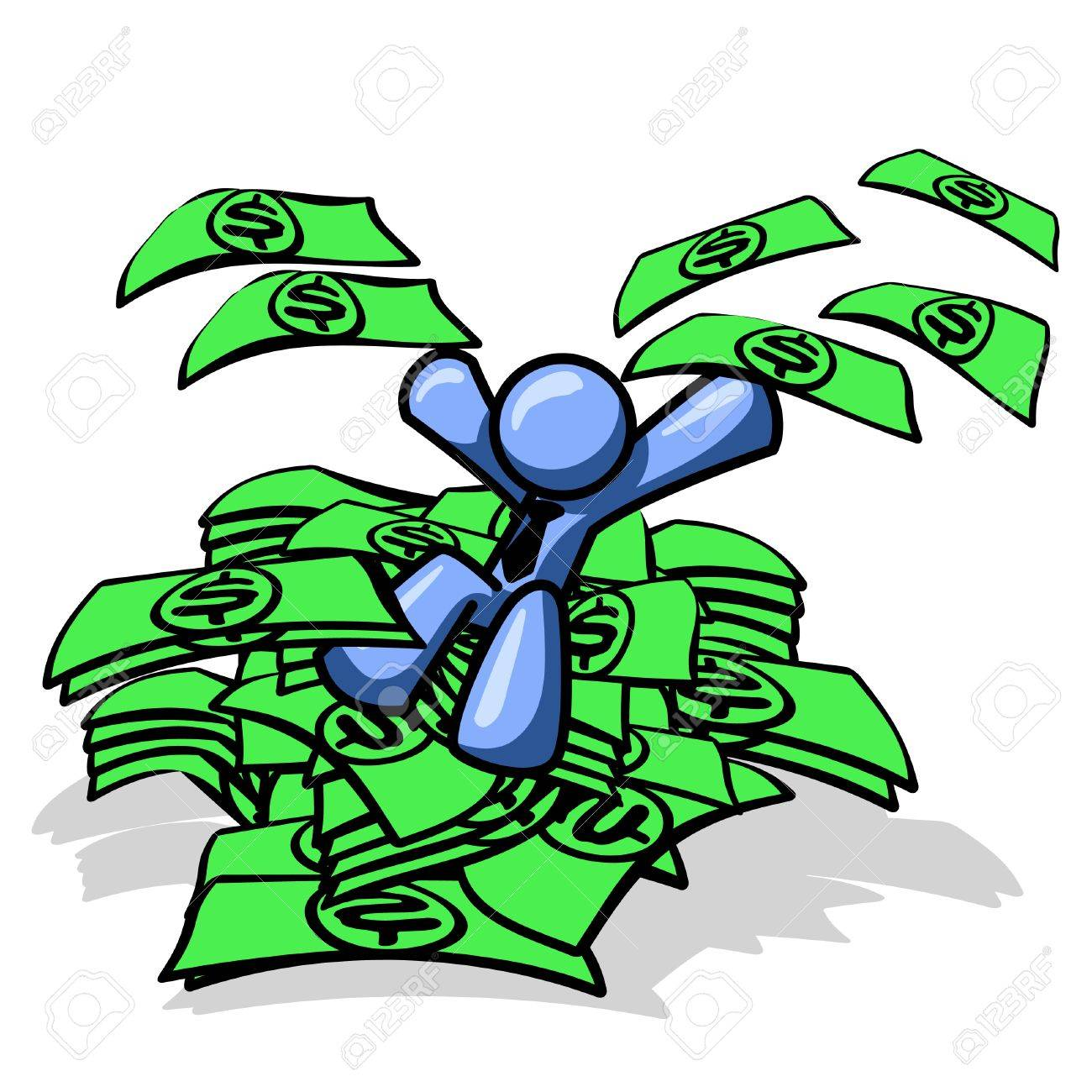 Blue man sitting on a pile of money, excited! See the rest of the series in my portfolio! Stock Vector - 1905696