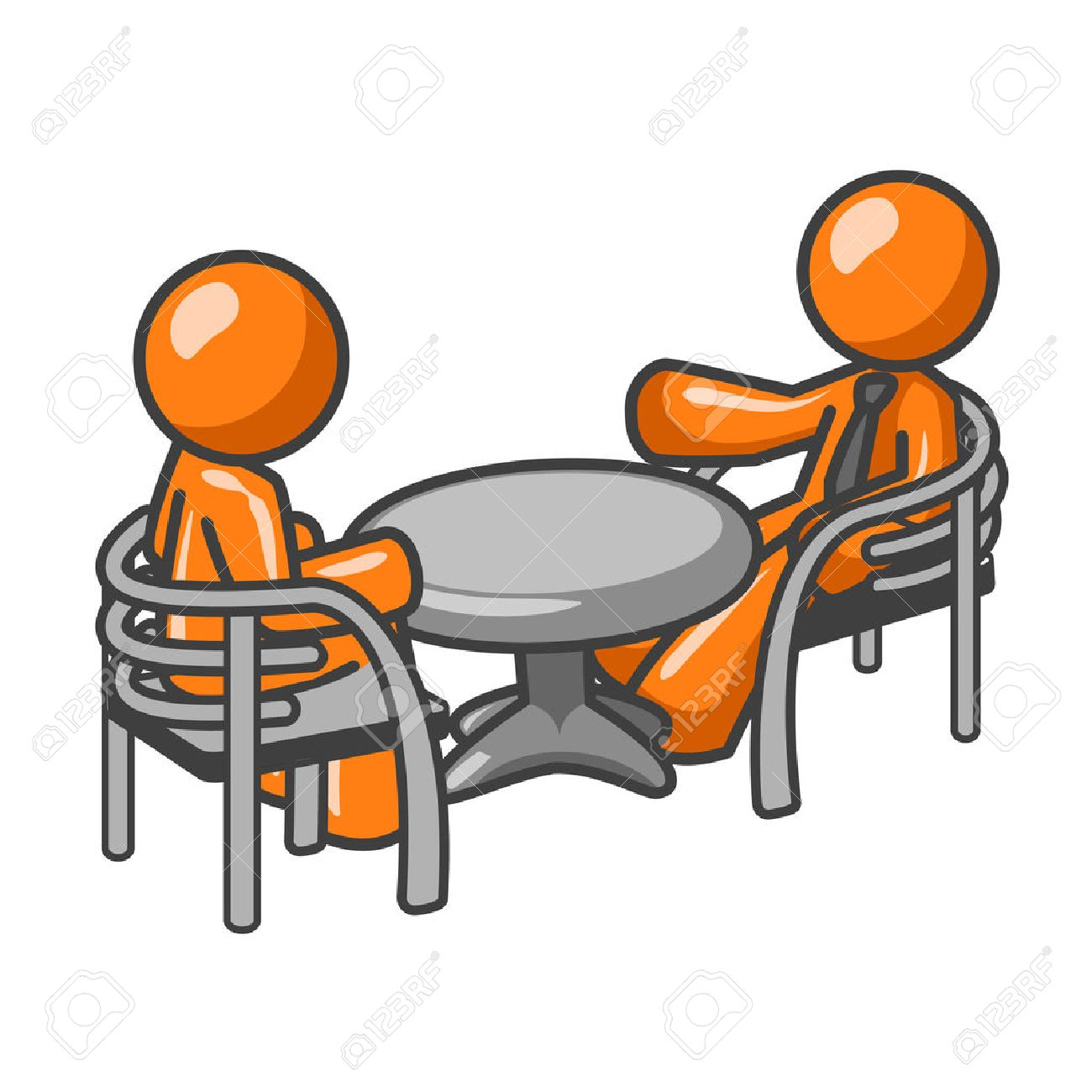 Two orange business men sitting at a table, having a business conference. Or maybe its just two friends talking about old times! Stock Vector - 1905758