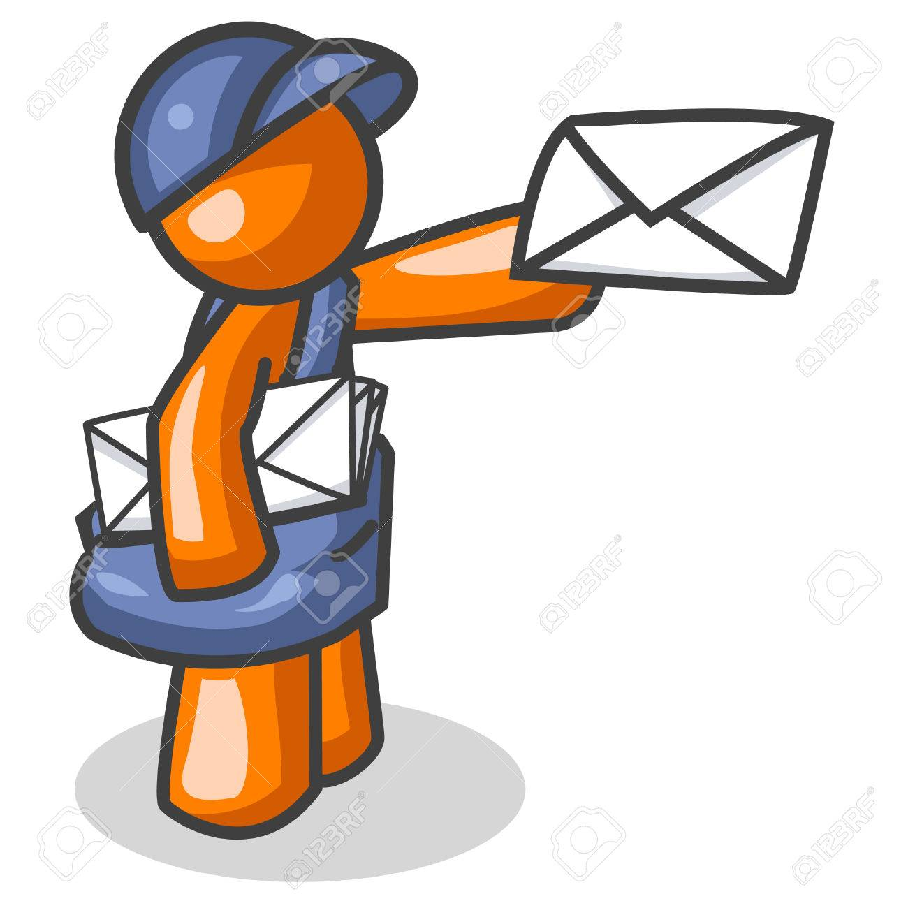 An orange man delivering mail. Actually created as part of the computer internet theme of the Orange Man series, but can be used for anything, involving, well, mail. Stock Vector - 1905747