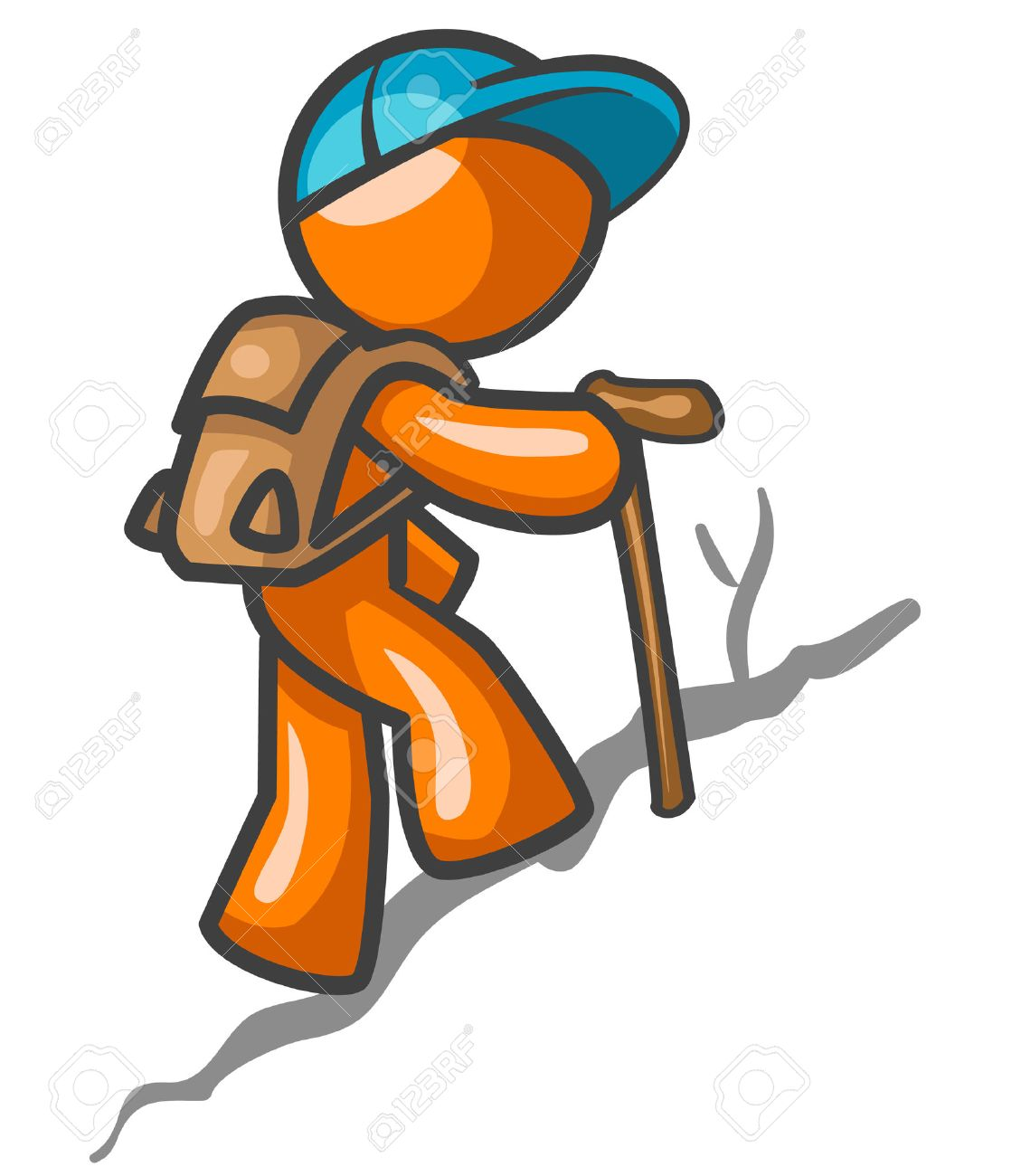 An orange man hiking up a trail for a workout. Stock Vector - 2774369