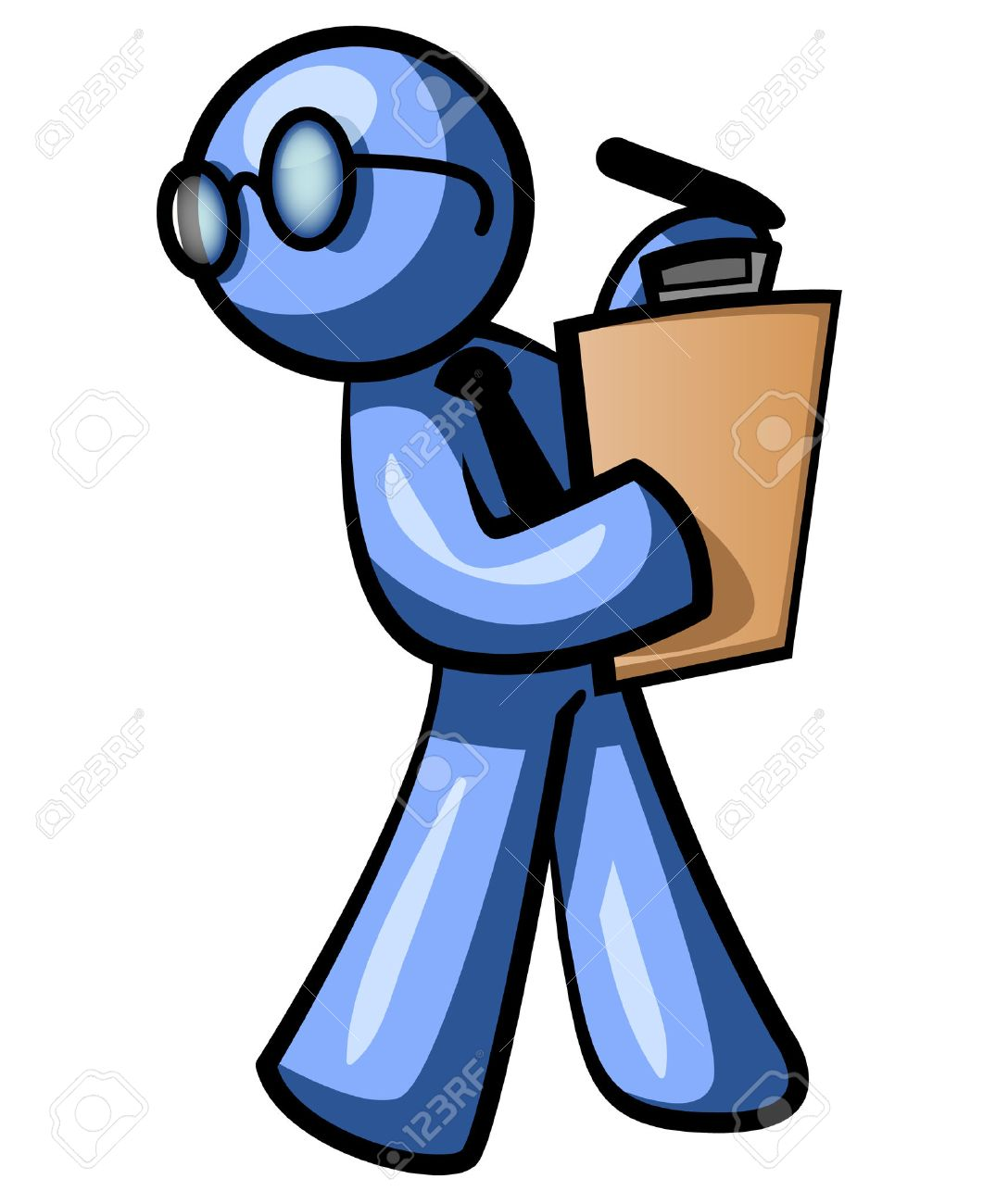 a blue man walking a clipboard while looking behind himself a blue man walking a clipboard while looking behind himself he looks busy