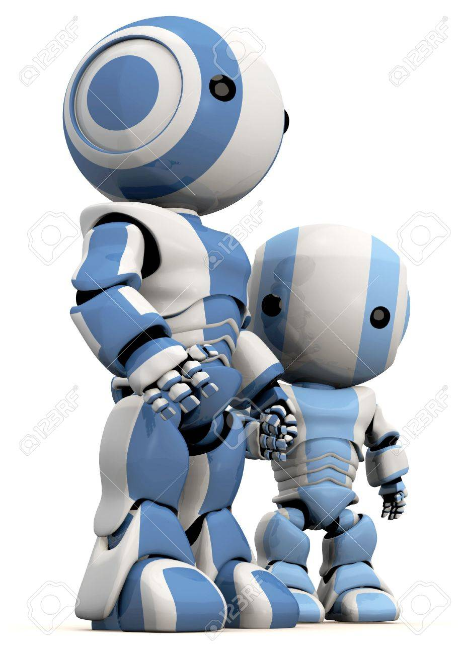 A cute 3d Robot father and son. Great concept for bonding, effection, care taking, and so forth. Stock Photo - 3089692