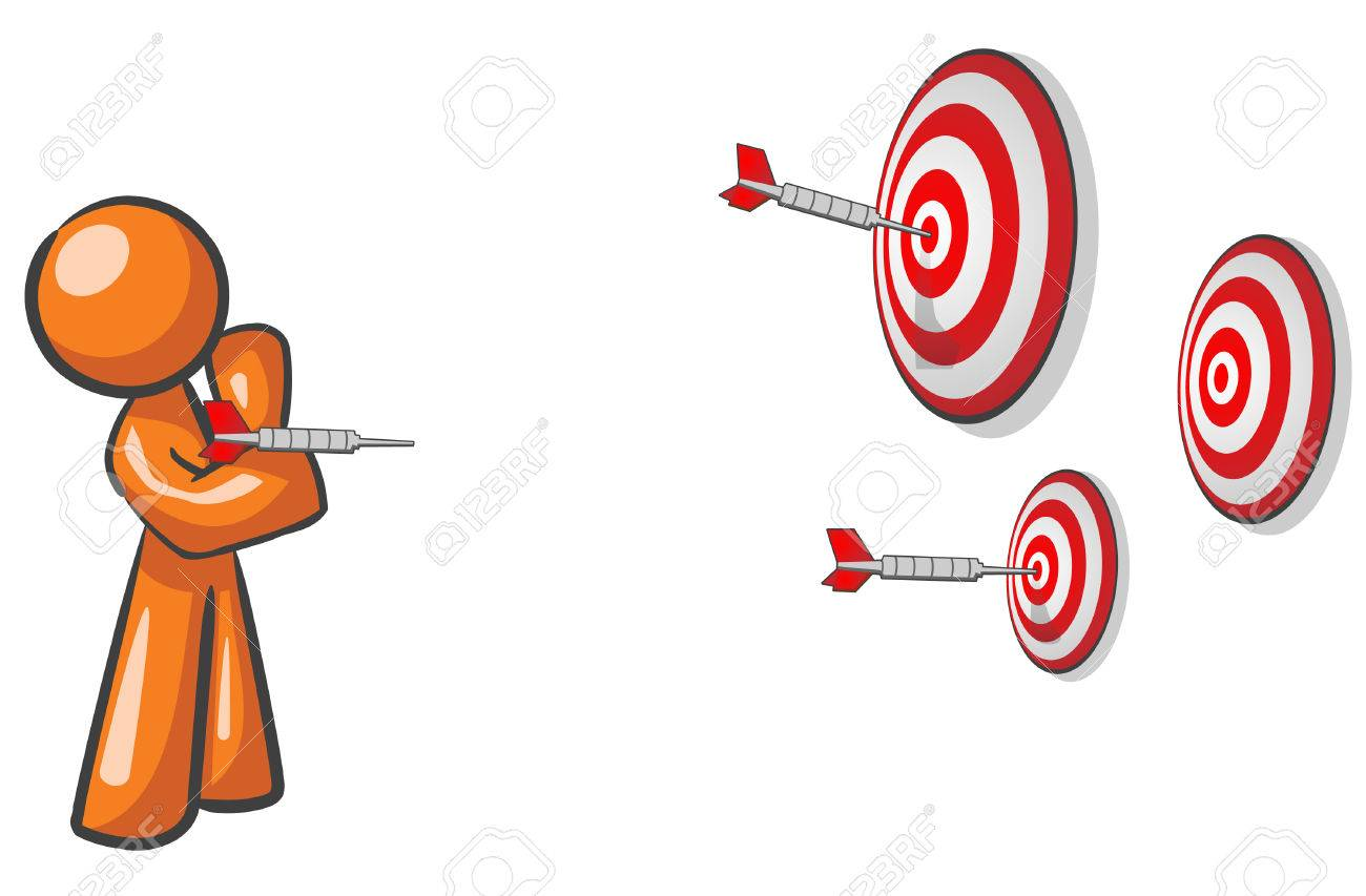A design mascot aiming for multiple targets. Marketing concept. Stock Vector - 5138725