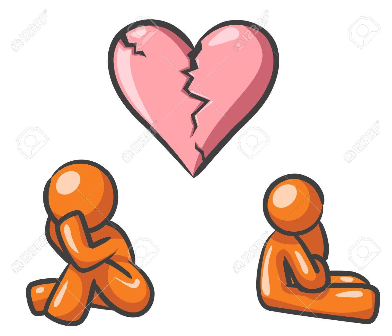 Design mascots suffering broken heart syndrome. Stock Vector - 5138701