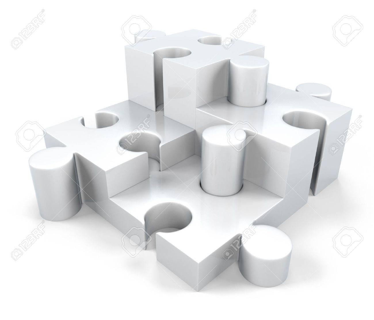 3D White Jigsaw Puzzle Pieces Components Stock Photo