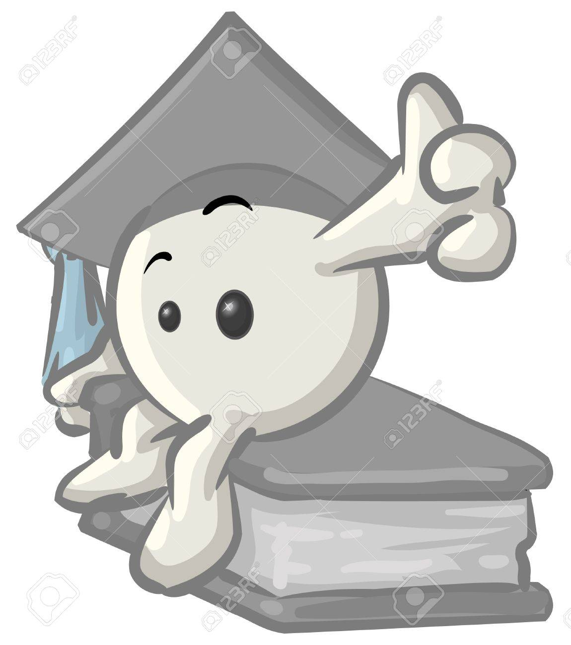 Royalty-free clipart picture of a white konkee character graduate in a cap,  sitting on a book, on a white background