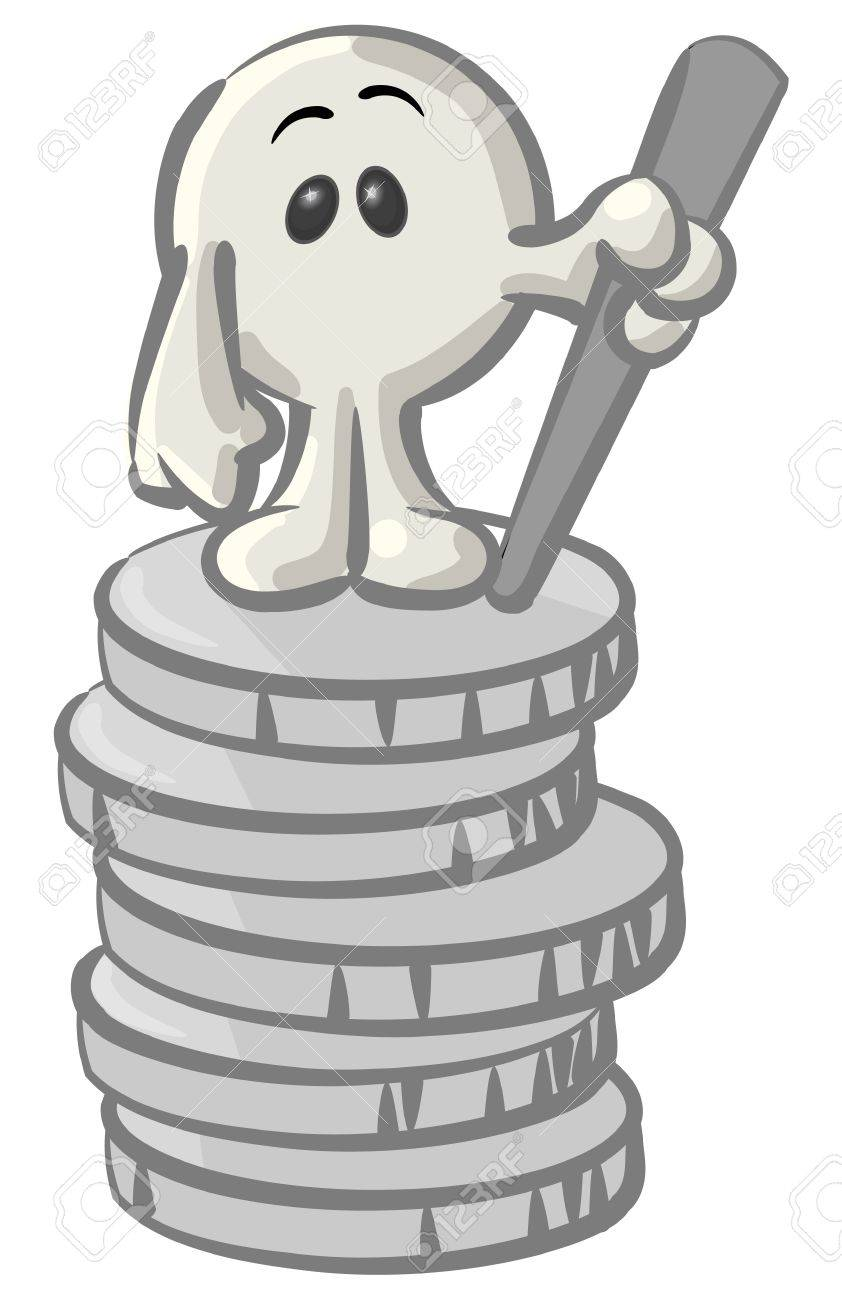 Royalty-free clipart picture of a white konkee character standing on top of  a stack of coins, on a white background
