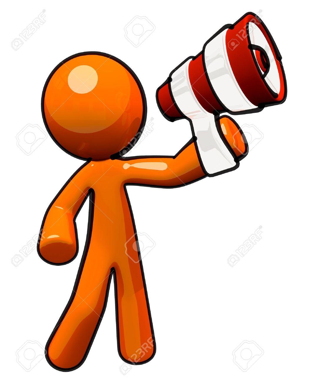Broadcasting and communications image. Orange man with megaphone. Stock Photo - 11134524