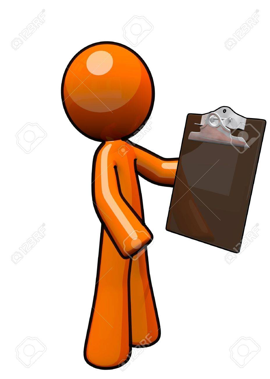 orange man with clipboard he is a supervisor stock photo picture